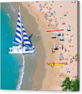 Sailboat At Waikiki Canvas Print