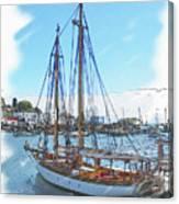 Sailboat Docked In Camden Canvas Print