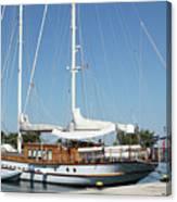 Sailboat In Harbor Summer Vacation Scene Canvas Print