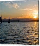 Sailboat Sillohette Sunset Canvas Print