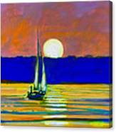 Sailboat With Moonlight Canvas Print