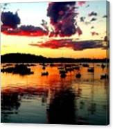 Sailboats And Sunset Sky In Hingham, Ma Canvas Print