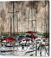 Sailboats At Night Canvas Print