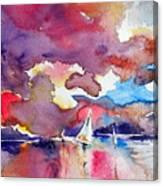 Sailboats At Sunset Canvas Print