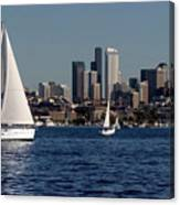 Sailboats In Seattle Canvas Print