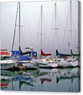Sailboats In The Fog Canvas Print