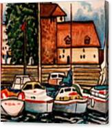 Sailboats In The Harbor Canvas Print