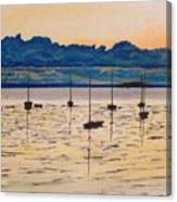 Sailboats Moored Clouds Front Ocean Sea Lake Canvas Print