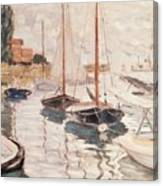 Sailboats On The Seine Canvas Print