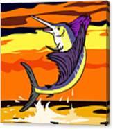 Sailfish Jumping Retro Canvas Print