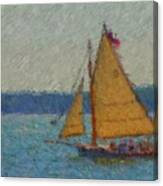 Sailing At Spruce Point Boothbay Harbor Maine Canvas Print