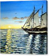 Sailing Day Sunset Canvas Print