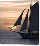 Sailing In Key West At Sunset Canvas Print