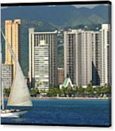 Sailing Off Waikiki Canvas Print
