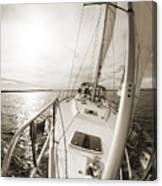 Sailing On A Beneteau 49 Sailboat Canvas Print