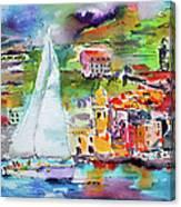 Sailing Past Vernazza Italy Canvas Print