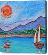 Sailing Red Sun Canvas Print