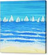 Sailing Regatta White Canvas Print