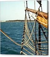 Sailing Ship Prow On The Caribbean Canvas Print