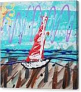 Sailing The Coast Abstract Canvas Print