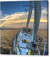 Sailing Yacht And Tropical Storm Ana Outflow  Canvas Print
