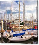 Sailoats Docked In Marina Canvas Print