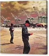 Sailors And Food Trucks Canvas Print