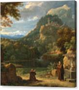 Saint Anthony Of Padua Introducing Two Novices To Friars In A Mountainous Landscape Canvas Print