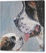 Saint Bernard Dad And Pup Canvas Print