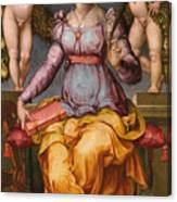 Saint Catherine Of Alexandria Crowned By Two Angels Canvas Print