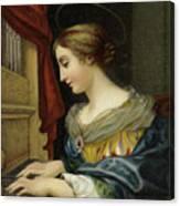 Saint Cecilia Playing The Organ Canvas Print