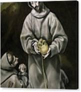 Saint Francis And Brother Leo Meditating On Death Canvas Print