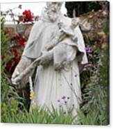 Saint Francis Statue In Carmel Mission Garden Canvas Print