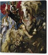 Saint George Battles The Dragon Canvas Print