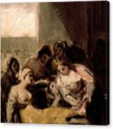 Saint Isabel Of Portugal Healing The Wounds Of A Sick Woman Canvas Print