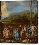 Saint John Baptizing In The River Jordan Canvas Print
