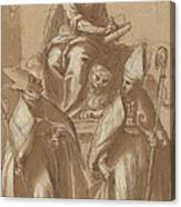Saint Mark With Two Bishops And Putti Canvas Print