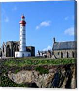 Saint-mathieu Lighthouse And The Ruins Of The Abbey Of Saintlmat Canvas Print