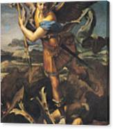 Saint Michael Overwhelming The Demon Canvas Print