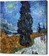 Saint-remy Road With Cypress And Star Canvas Print