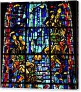 Sainte-mere-eglise Paratrooper Tribute Stained Glass Window Canvas Print