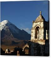 Sajama Volcano And Lagunas Church Belfry Bolivia Canvas Print