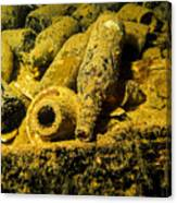 Sake Bottles In A Shipwreck In Truk Canvas Print