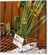 Salami For Slae With Wheat Canvas Print