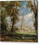 Salisbury Cathedral From The Bishop Grounds Canvas Print