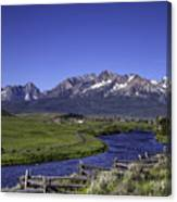 Salmon River And Sawtooth Mountains Canvas Print