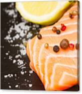 Salmon Steak And Spices Canvas Print