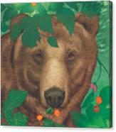 Salmonberry Bear Canvas Print