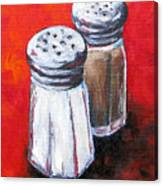 Salt And Pepper On Red Canvas Print