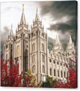 Salt Lake Temple - A Light in the Storm Canvas Print